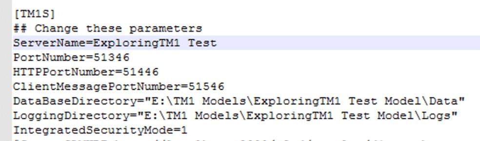 Minimum TM1s.cfg configuration.