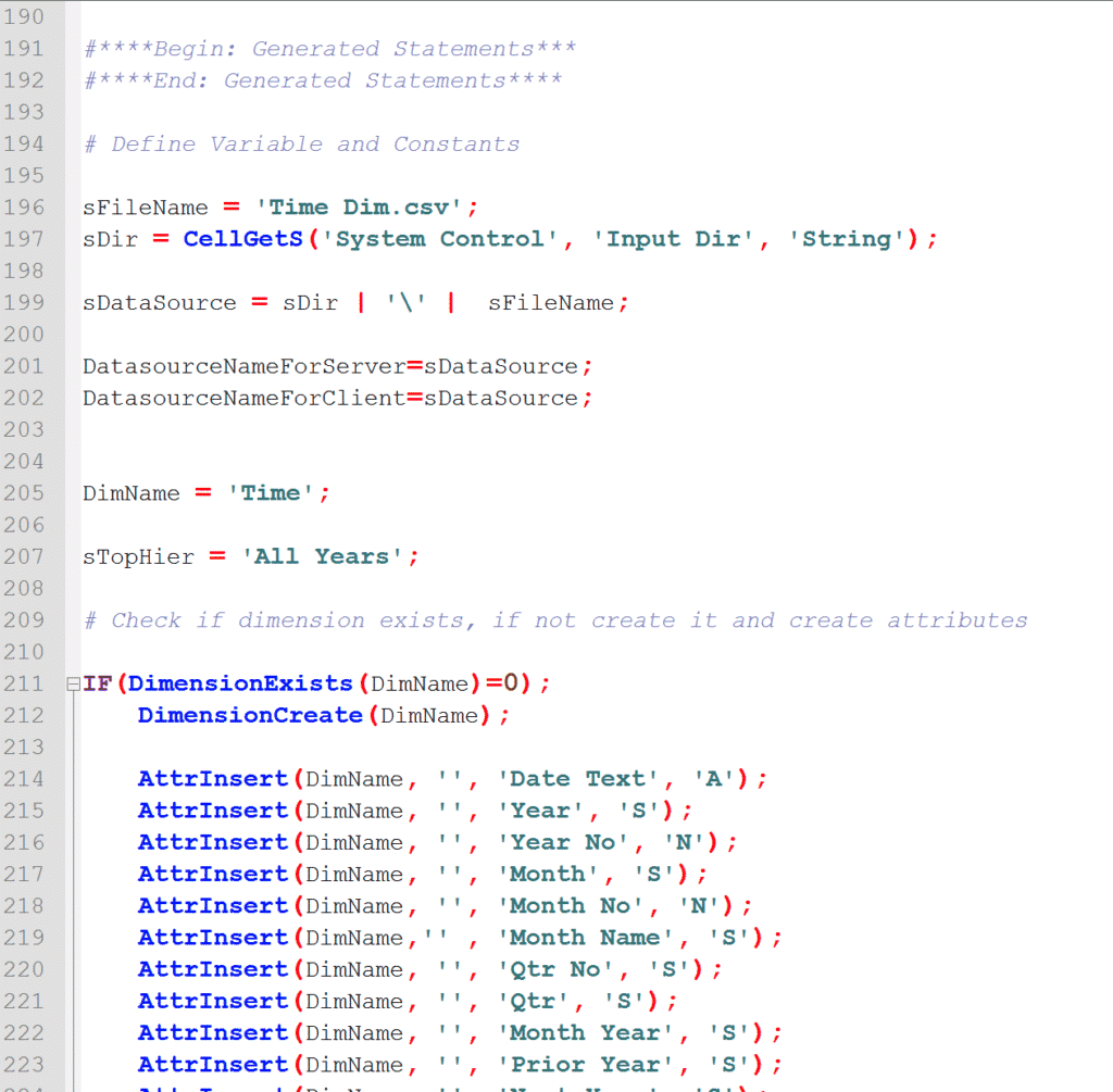 TM1 Turbo Integrator Process (TI) shown in Notepad++ with syntax highlighting.